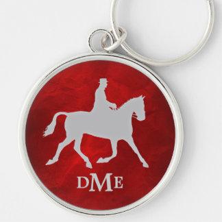 Chaveiro Monograma de prata elegante de Equestian do