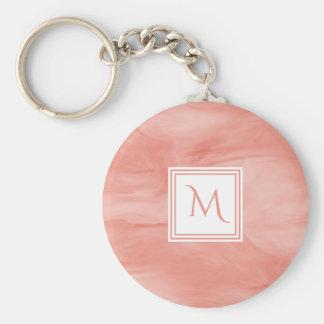 Chaveiro Monograma moderno de mármore subtil cor-de-rosa