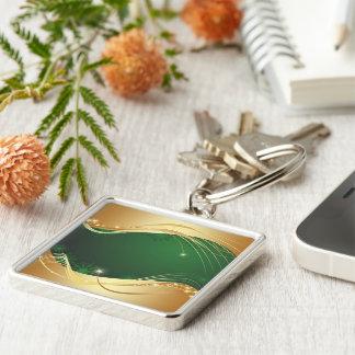 Chaveiro Motriz dourado do Natal com fundo verde…