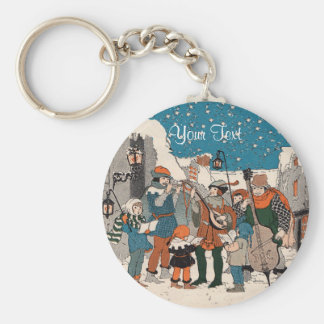 Chaveiro Músicos idosos dos Carolers do Natal do tempo pelo