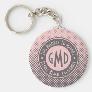 Chaveiro Na moda cinzento cor-de-rosa milenar do monograma