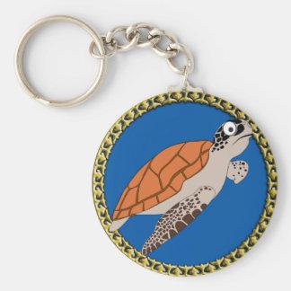 Chaveiro Natação alaranjada da tartaruga de mar com um