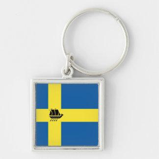 Chaveiro Navio de Viking do sueco com a bandeira da suecia