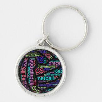 Chaveiro Netball inspirado das palavras do design da bola