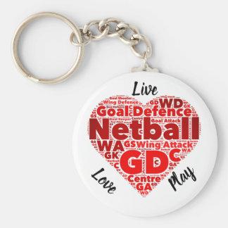 Chaveiro Netball inspirado do design GD do coração