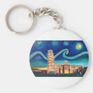 Chaveiro Noite estrelado em Pisa com torre inclinada