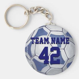 Chaveiro Nome da bola de futebol e número azuis e brancos