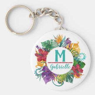 Chaveiro Nome floral tropical da inicial do monograma da