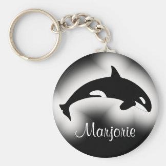 Chaveiro Nome preto e branco da baleia de assassino da orca