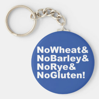 Chaveiro NoWheat&NoBarley&NoRye&NoGluten! (branco)