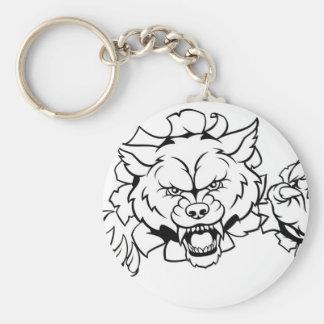 Chaveiro O animal do lobo ostenta a mascote que quebra o