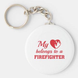 Chaveiro O coração pertence sapador-bombeiro