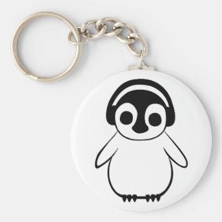 Chaveiro O pinguim escuta o crachá da música