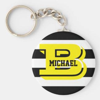 Chaveiro O preto listra o anel chave do botão do monograma