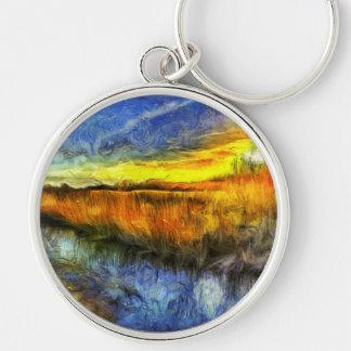 Chaveiro O rio Van Gogh do por do sol
