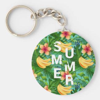 Chaveiro O texto tropical do verão na banana floresce o