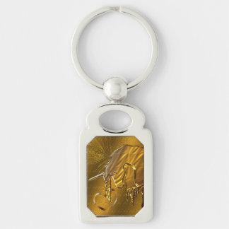 Chaveiro O unicórnio dourado (fundo do ouro)