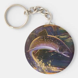 Chaveiro O vintage ostenta a pesca dos peixes da truta,