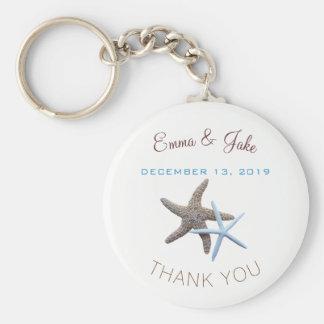 Chaveiro Obrigado azul do casal da estrela do mar você