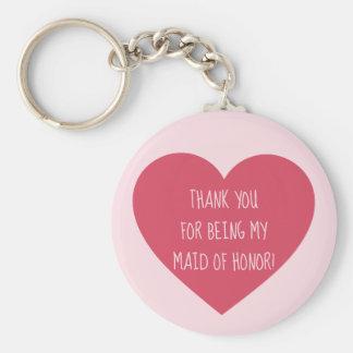 Chaveiro Obrigado cor-de-rosa da madrinha de casamento do
