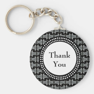 Chaveiro Obrigado preto e branco do teste padrão de Tiki