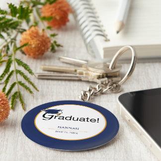 Chaveiro Os parabéns graduam-se, chapéu, borla, azul, ouro