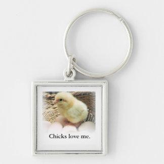"""Chaveiro Os """"pintinhos amam-me"""" com imagem da galinha do"""