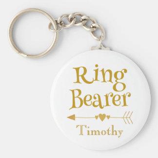 Chaveiro Ouro e portador de anel branco