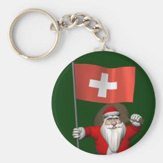 Chaveiro Papai Noel com a bandeira da suiça