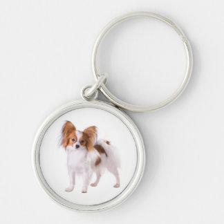 Chaveiro Papillon Brown e cão de filhote de cachorro branco