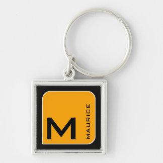 Chaveiro para ele um monograma quadrado amarelo moderno do
