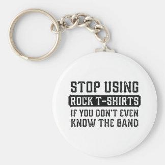 Chaveiro Pare de usar t-shirt da rocha