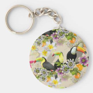 Chaveiro Pássaros de Toucan, flores da paixão, Plumeria
