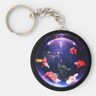 Chaveiro Peixe dourado em uma bacia keychain. dos peixes