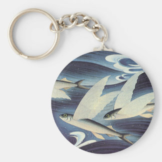 Chaveiro Peixes de vôo no oceano azul, animais aquáticos do