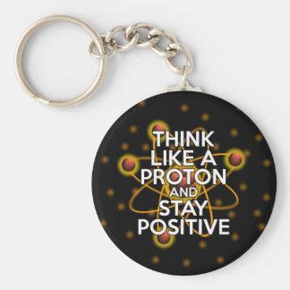 Chaveiro Pense como um protão e permaneça positivo