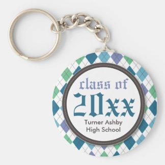 Chaveiro personalizado Argyle formal da graduação: