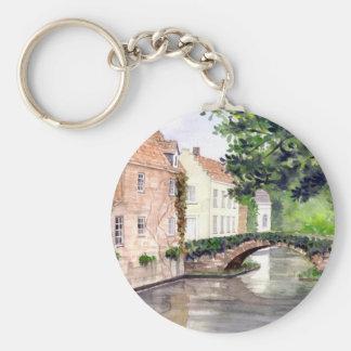 Chaveiro Pintura da aguarela de Bruges pelo Greenfield de