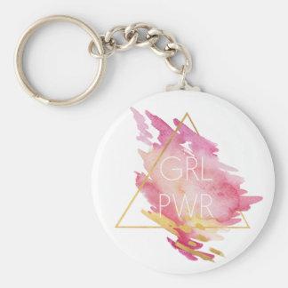 Chaveiro Poder da menina no rosa & no ouro - aguarela