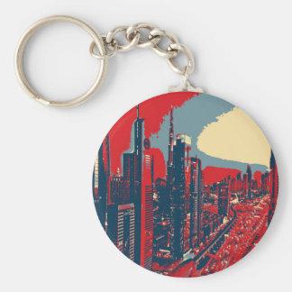 Chaveiro Pop art artístico da skyline de Dubai