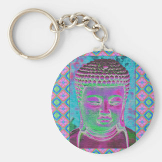 Chaveiro Pop de Buddha na magenta e na turquesa