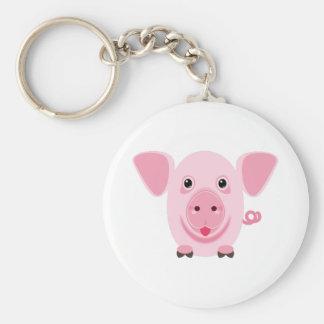 Chaveiro Porco cor-de-rosa bonito feliz pequeno