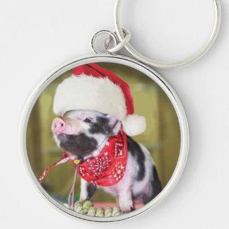 Chaveiro Porco Papai Noel - porco do Natal - leitão