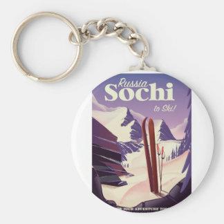 Chaveiro Poster de viagens do esqui de Sochi Rússia