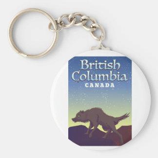 Chaveiro Poster selvagem do lobo de Canadá do Columbia