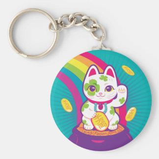 Chaveiro Pote de boa sorte de Maneki Neko do gato de ouro