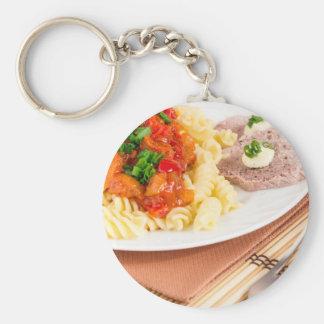 Chaveiro Prato do almoço da massa italiana, molho vegetal