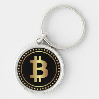 Chaveiro preto de Bitcoin Cryptocurrency do ouro