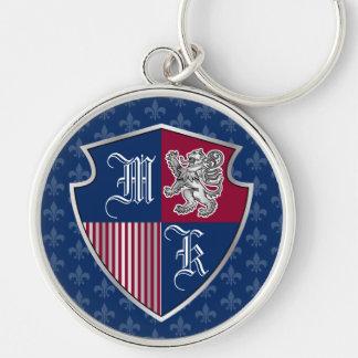 Chaveiro Protetor de prata do emblema do monograma da