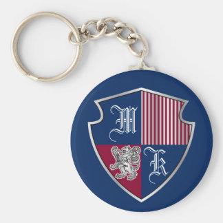 Chaveiro Protetor do leão da prata do emblema do monograma